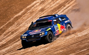 Picture Blue, Volkswagen, Day, Lights, Red Bull, Touareg, Rally, Dakar, SUV, Rally, The view from the ...