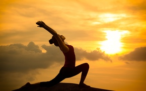 Picture light, orange, pose, yoga