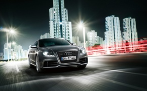 Wallpaper grey, Audi, speed, RS5, city night