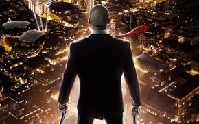 Picture night, the city, lights, weapons, guns, height, costume, tie, panorama, killer, Rupert Friend, Hitman: Agent …