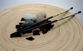 Picture pebbles, stones, Chinese chopsticks