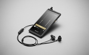 Picture grey, background, headphones, player, equalizer, Android, smartphone, Smartphone, Marshall London