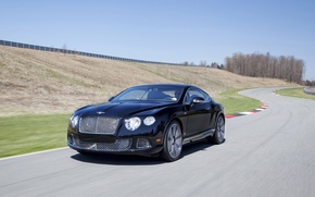 Picture Auto, Bentley, Continental, Road, Black, The Mans, Machine, Asphalt, The hood, Lights, Coupe
