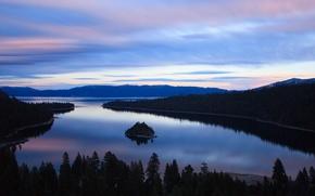 Picture sunset, nature, lake, California, Lake Tahoe, Emerald Bay