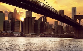 Picture the sun, sunset, building, new York, new york, Brooklyn bridge, brooklyn bridge