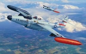 Picture art, airplane, painting, jet, Northrop F-89 Scorpion