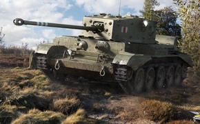 Picture grass, tank, the bushes, British, average, World of Tanks, Cromwell