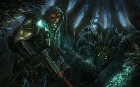 Picture forest, weapons, monster, warrior, art, hood, male