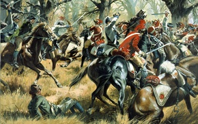Picture weapons, oil, picture, battle, horse, South Carolina, fight, equipment, canvas, artist don Troiani, Cowpens, American …