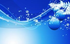 Wallpaper snowflakes, balls, new year, Blue
