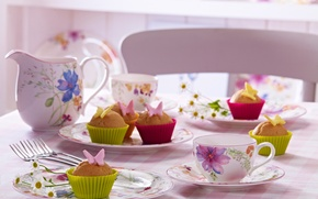Picture butterfly, flowers, table, food, Cup, cake, cake, dessert, food, butterfly, flowers, sweet, cupcakes, cakes, dessert, …