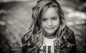 Picture photo, child, girl, black and white