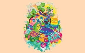Picture flowers, crab, flora, water, the sun, turtle, animals, the sky, owl, nature, fauna, snake, butterfly, ...