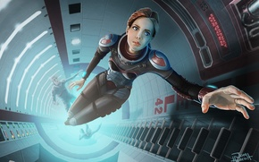 Picture mine, ship, ladder, art, astronaut, guys, girl, weightlessness, space