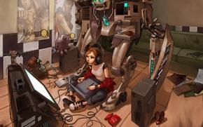 Wallpaper room, toys, robot, headphones, speakers, monitor, draws, mess, digitizer, gamepad