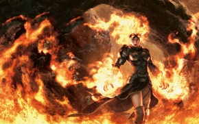 Picture girl, fire, flame, armor, MAG, fire, flame, girl, armor, the wizard, Magic The Gathering, wizard, …