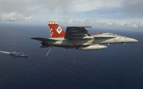 Wallpaper Super Hornet, USS, carrier-based fighter-bomber FA-18F, Kitty Hawk