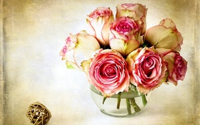 Picture flower, flowers, pink, rose, color, roses, vase, pink, flowers, roses, the Queen of flowers