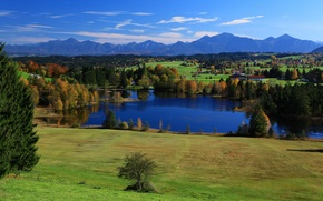 Picture the sky, trees, mountains, lake, home, Germany, Bayern