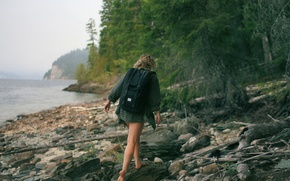 Picture forest, girl, lake, shore, backpack, hike