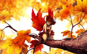 Picture autumn, girl, fantasy, art, maple, fake
