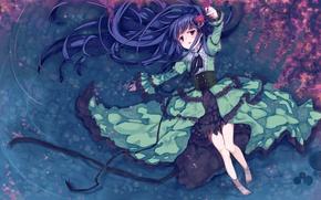 Picture water, girl, flowers, anime, petals, Sakura, art, idolmaster, nemecko, sajou my Yuki