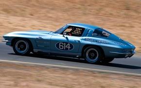 Picture car, Corvette, Chevrolet, Chevrolet Corvette Stingray, road, blue, Stingray