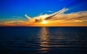 Picture sea, the sky, the sun, clouds, sunset, horizon