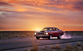 Picture road, sunset, muscle car, plymouth duster