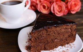 Picture coffee, chocolate, roses, cake
