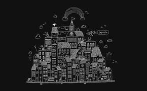 Wallpaper clouds, the city, figure, UFO, home, rainbow, contour, primitivism