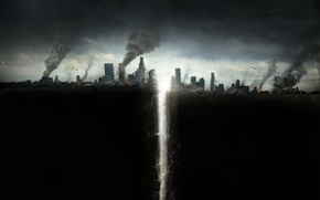 Picture the city, smoke, helicopters, disaster, skyscrapers, poster, crack, San Andreas, Fault San Andreas, in the …