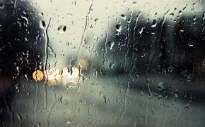 Wallpaper blur, glass, rain, drops