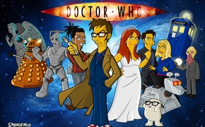 Picture space, stars, The simpsons, parody, Doctor Who, characters, Doctor Who, The Simpsons, Tenth Doctor, Tenth …