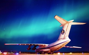 Wallpaper military transport aircraft, The sky, Lights, Aviation, Night, Ilyushin, The Il-76, Candid, Wings, Airport, 76797