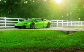 Picture Lamborghini, Green, Front, Color, Supercar, Wheels, ADV.1, Huracan, LP610-4, Jeff
