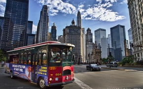 Picture movement, street, building, skyscrapers, bus, America, Chicago, Chicago, USA, skyscrapers
