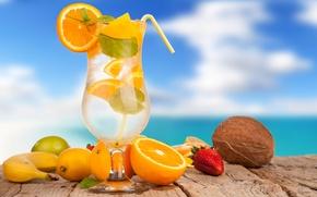 Picture lemon, ice, glass, drink, cocktail, citrus, cocktails, coconut, fruit, strawberry, orange, summer, banana, lime, tube