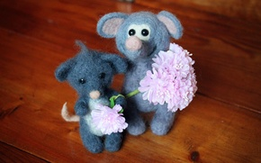 Picture flowers, smile, toys, wool, pair, company, knitted, homemade