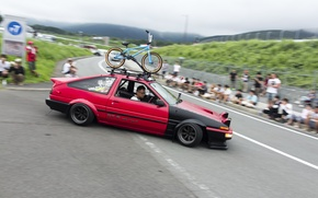 Picture bike, red, toyota, Toyota, hachiroku, Stance