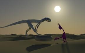 Picture the sun, desert, dinosaur, the situation, mirror, Alien