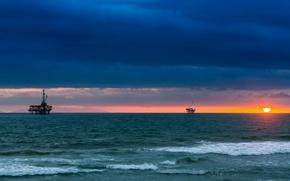 Picture sunset, the ocean, horizon, CA, Pacific Ocean, California, The Pacific ocean, Sea Cliff, oil platform