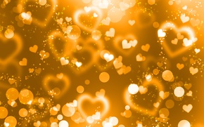 Picture yellow, background, gold, hearts