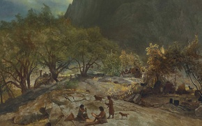 Wallpaper landscape, mountains, picture, Albert Bierstadt, The camp of the Indians in Mariposa. Yosemite Valley. CA