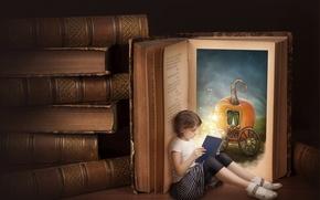 Picture books, Alice, girl, pumpkin, coach, reading