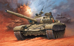 Wallpaper figure, tank, Enzo Maio, NNA GDR, the national people's army, NVA, Nationale Volksarmee, T-72