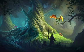Picture forest, tree, dragon, Deligaris