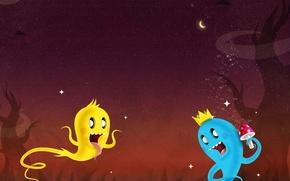 Wallpaper the moon, bring, vector, night, stars, mushroom