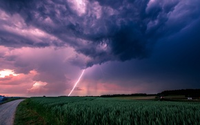 Picture road, the storm, field, clouds