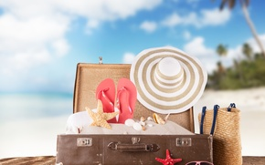 Picture sand, sea, beach, summer, the sun, stay, hat, glasses, shell, suitcase, summer, beach, vacation, sea, ...